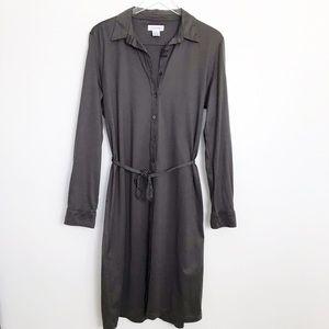 Calvin Klein Taupe  100% Cotton Button Down Dress